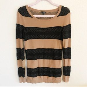 Express Carmel Brown and Black Long Sleeve Sweater